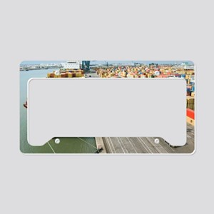 Container ship and port License Plate Holder