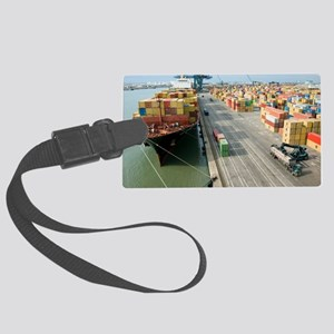 Container ship and port Large Luggage Tag