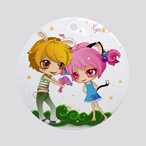 Nyan and pyon shower curtain Round Ornament