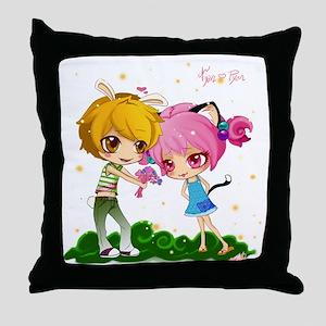 Nyan and pyon shower curtain Throw Pillow