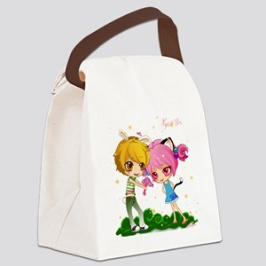 Nyan and pyon shower curtain Canvas Lunch Bag