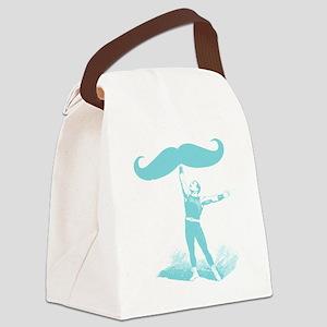 mustache lifter blu Canvas Lunch Bag