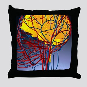 Circulatory system and brain, artwork Throw Pillow