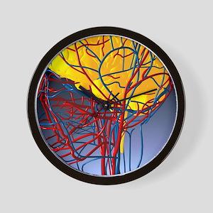 Circulatory system and brain, artwork Wall Clock
