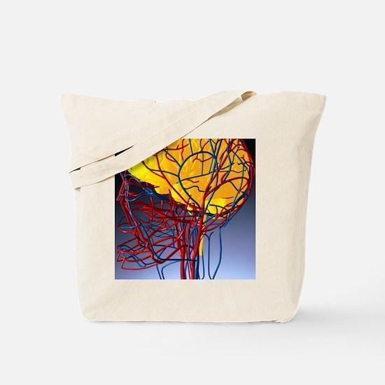 Circulatory system and brain, artwork Tote Bag