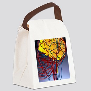 Circulatory system and brain, art Canvas Lunch Bag