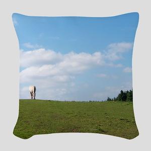 Golden horizon Woven Throw Pillow