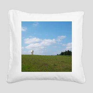 Golden horizon Square Canvas Pillow