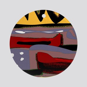 Abstract Red Canoe Round Ornament