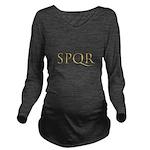 Gold Latin SPQR Long Sleeve Maternity T-Shirt