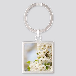 Cherry blossom (Prunus sp.) Square Keychain