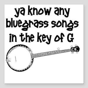 """Funny Banjo Square Car Magnet 3"""" x 3"""""""