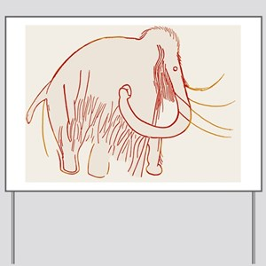 Cave painting of a mammoth, artwork Yard Sign