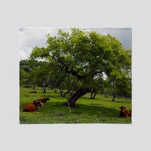 Cattle under a holm oak tree Throw Blanket