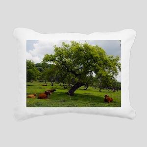 Cattle under a holm oak  Rectangular Canvas Pillow