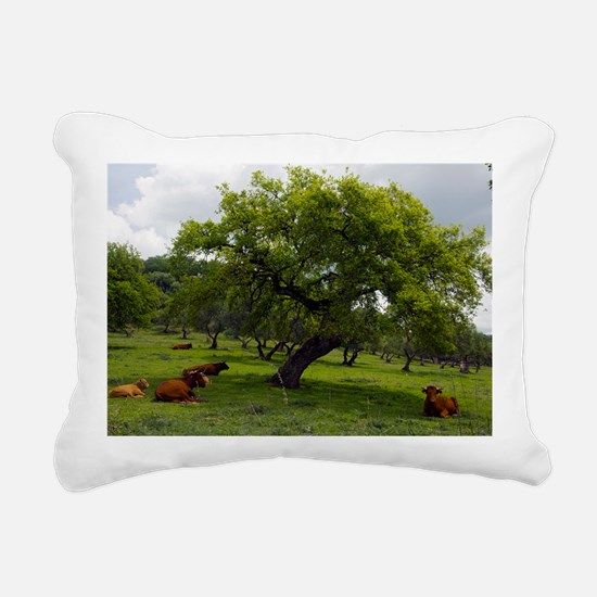 Cattle under a holm oak  Rectangular Canvas Pillow