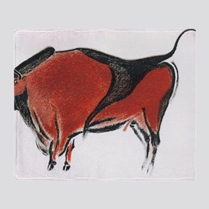 Cave painting of a bison, artwork Throw Blanket