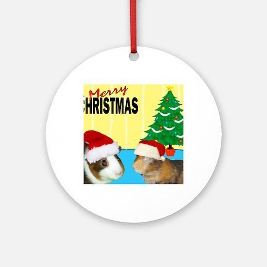 Merry Piggy Christmas Round Ornament