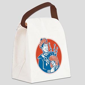 Scotsman Scottish Bagpiper Retro Canvas Lunch Bag