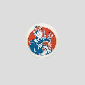 Scotsman Scottish Bagpiper Retro Mini Button