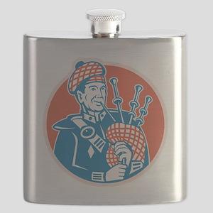 Scotsman Scottish Bagpiper Retro Flask