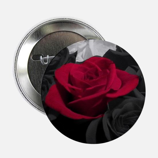 "Red rose pop color 2.25"" Button"