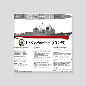 "USS Princeton CG-59 Square Sticker 3"" x 3"""