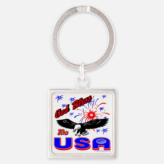 God Bless the USA Square Keychain