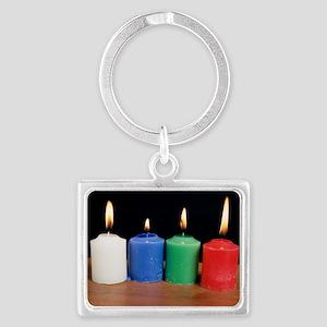 Candles under white light Landscape Keychain