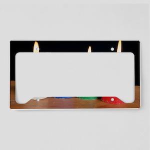 Candles under white light License Plate Holder