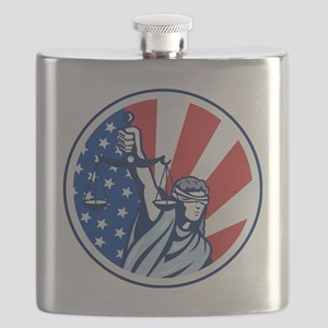 American Lady Holding Scales of Justice Flag Flask