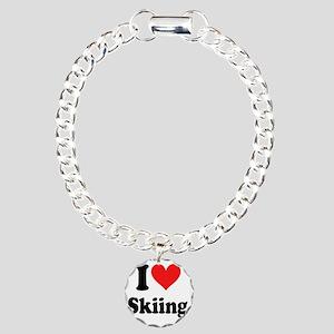 I Heart Skiing Charm Bracelet, One Charm