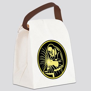 Welder With Welding Torch Visor R Canvas Lunch Bag