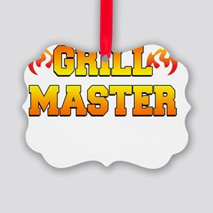 Grill Master Dark Apron Picture Ornament