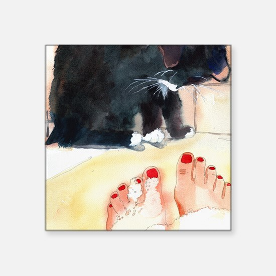 "Ebony Bath Black Cat Bathro Square Sticker 3"" x 3"""