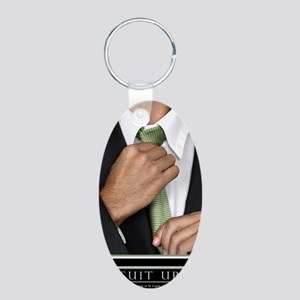 Large Vertical Suit Up Post Aluminum Oval Keychain