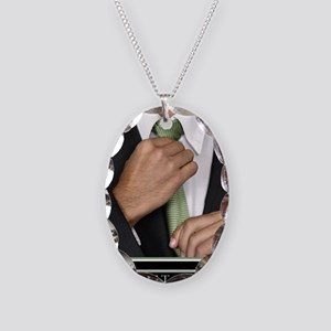 Large Vertical Suit Up Poster  Necklace Oval Charm