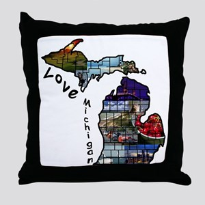 Love Michigan Throw Pillow