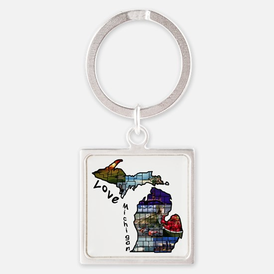 Love Michigan Square Keychain