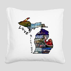 Love Michigan Square Canvas Pillow