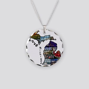 Love Michigan Necklace Circle Charm