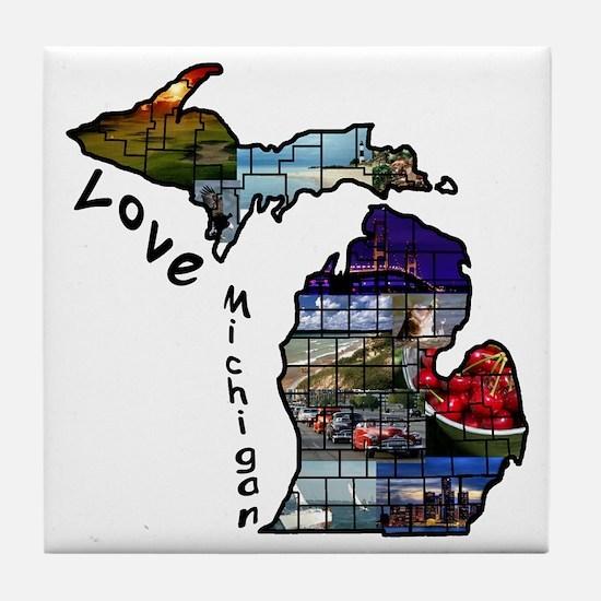 Love Michigan Tile Coaster