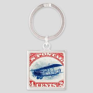 1918 US Stamp Curtiss Biplane  Square Keychain