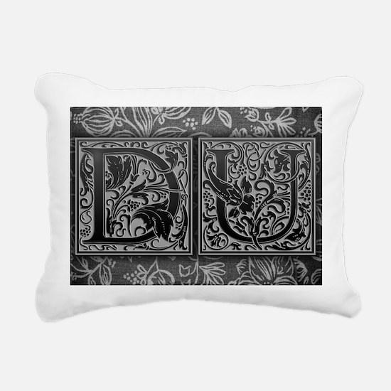 DU initials. Vintage, Fl Rectangular Canvas Pillow