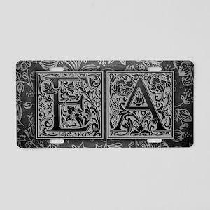 EA initials. Vintage, Flora Aluminum License Plate
