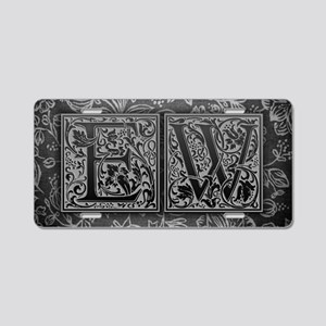 EW initials. Vintage, Flora Aluminum License Plate