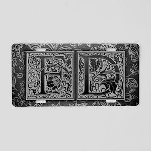FD initials. Vintage, Flora Aluminum License Plate