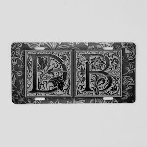 DB initials. Vintage, Flora Aluminum License Plate
