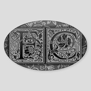 FC initials. Vintage, Floral Sticker (Oval)