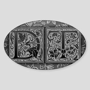 DT initials. Vintage, Floral Sticker (Oval)